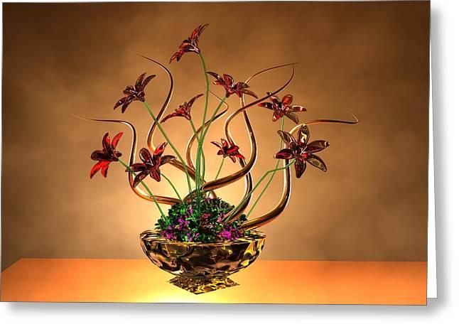 Gold Spirals Glass Flowers Greeting Card by Louis Ferreira
