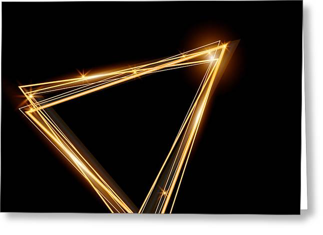 Gold Triangle Glowing Frame. Abstract Greeting Card