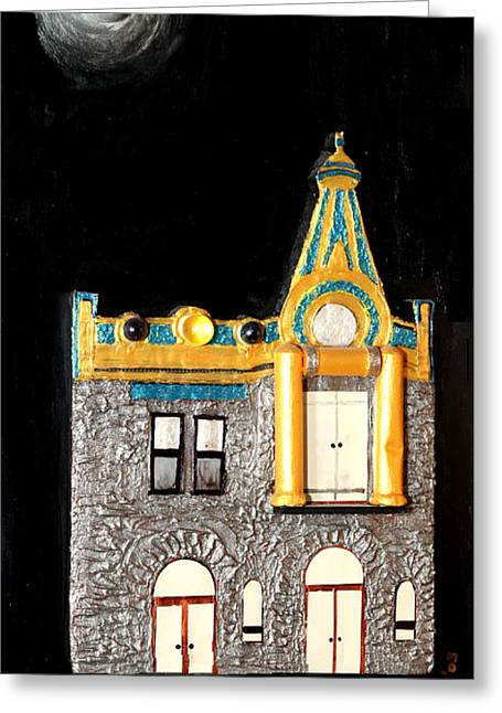 Gold Victorian Mansion-montreal Greeting Card