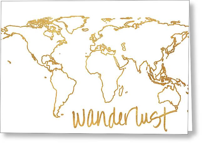 Gold Wanderlust Greeting Card by South Social Studio
