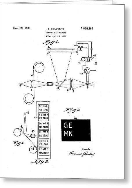 Goldberg Statistical Machine Patent Greeting Card by Us National Archives