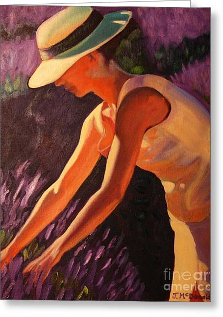 Greeting Card featuring the painting Golden Afternoons In Lavender by Janet McDonald