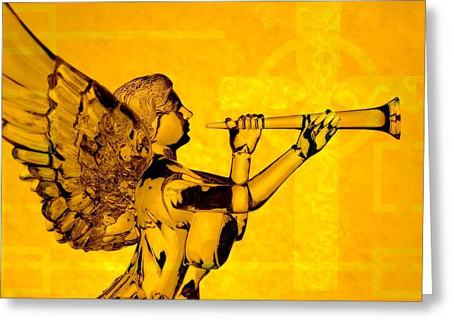 Golden Angel With Cross Greeting Card by Denise Beverly