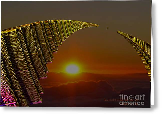 Greeting Card featuring the digital art Golden Arches by Melissa Messick