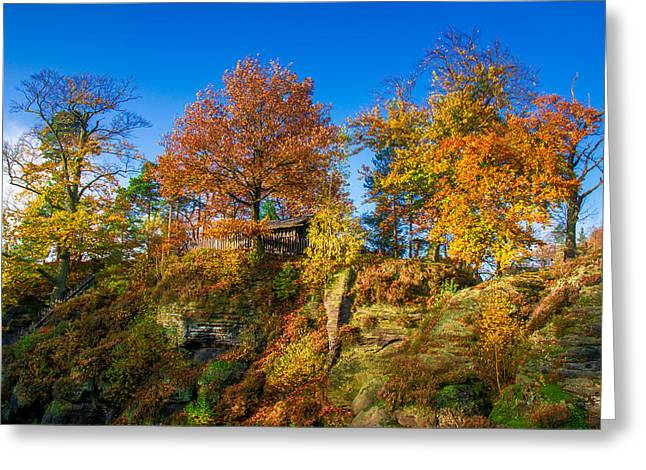 Golden Autumn On Neurathen Castle Greeting Card