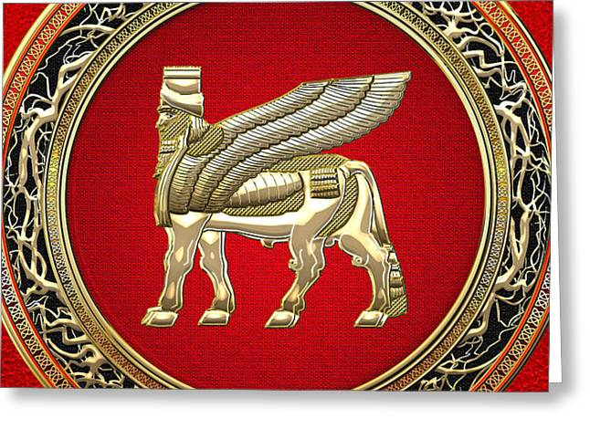 Golden Babylonian Winged Bull  Greeting Card