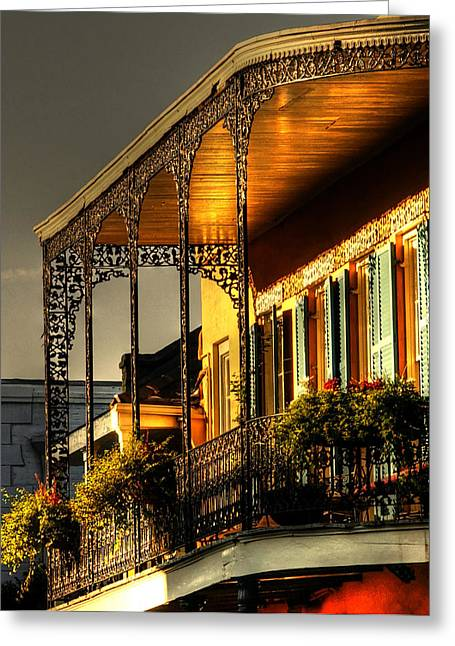 Golden Balcony Greeting Card by Greg and Chrystal Mimbs