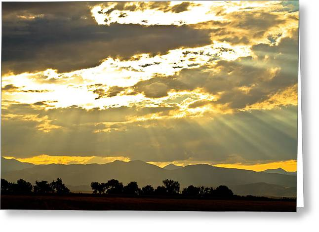 Golden Beams Of Sunlight Shining Down Greeting Card by James BO  Insogna