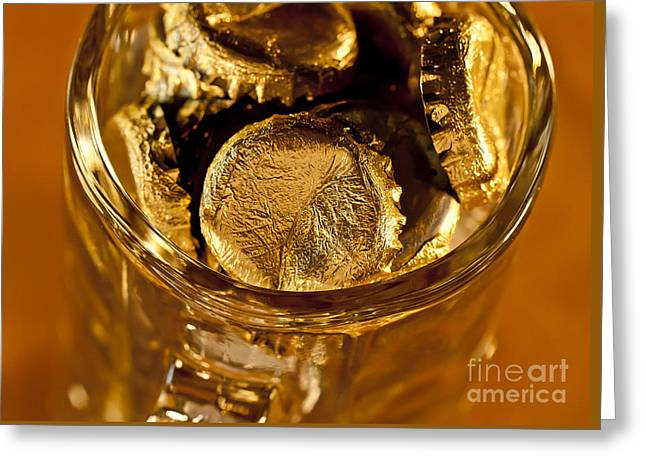 Greeting Card featuring the photograph Golden Beer  Mug  by Wilma  Birdwell