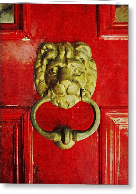 Golden Brass Lion On Red Door Greeting Card
