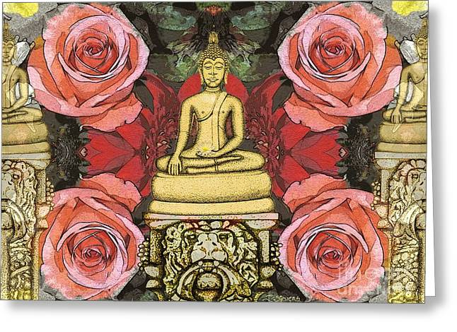 Greeting Card featuring the painting Golden Buddha In The Garden by Joseph J Stevens