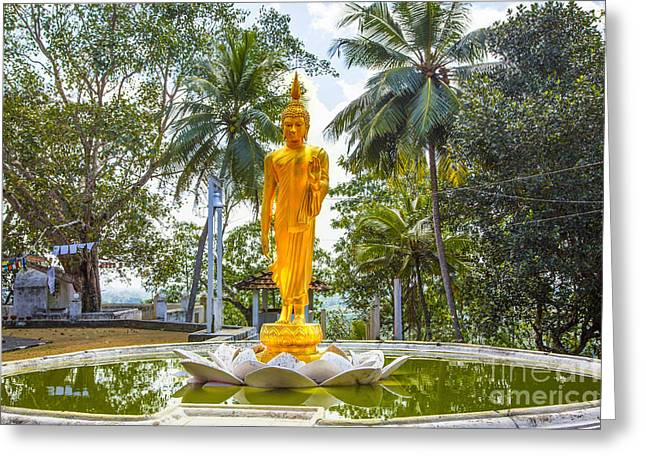 Golden Buddha On A Temple Flower Greeting Card by Regina Koch
