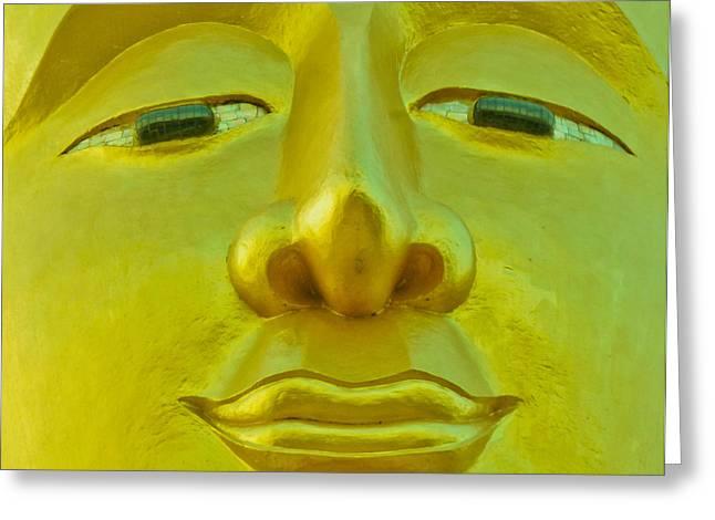 Golden Buddha Smile Greeting Card by Allan Rufus