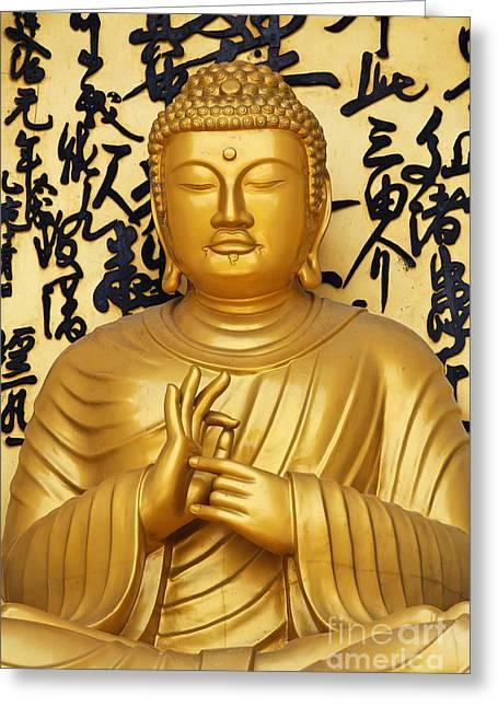 Golden Buddha Statue At The World Peace Pagoda Pokhara Greeting Card by Robert Preston