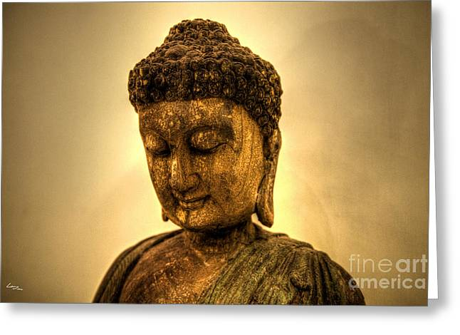 Golden Buddha Greeting Card by T Lang