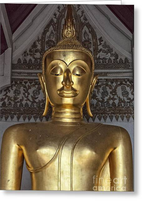 Golden Buddha Temple Statue Greeting Card by Antony McAulay