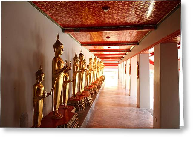 Golden Buddha - Wat Pho - Bangkok Thailand - 01132 Greeting Card by DC Photographer