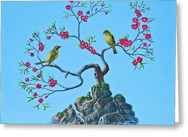 Golden Bush Robins In Old Plum Tree Greeting Card
