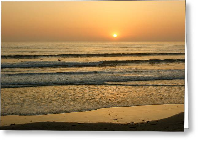 Golden California Sunset - Ocean Waves Sun And Surfers Greeting Card