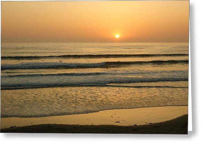 Golden California Sunset - Ocean Waves Sun And Surfers Greeting Card