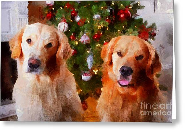 Golden Christmas Greeting Card by Claire Bull