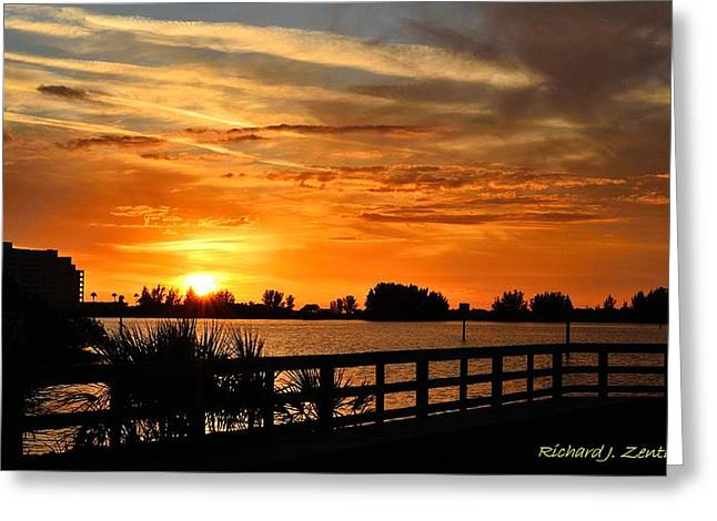 Greeting Card featuring the photograph Golden Christmas Sunset by Richard Zentner