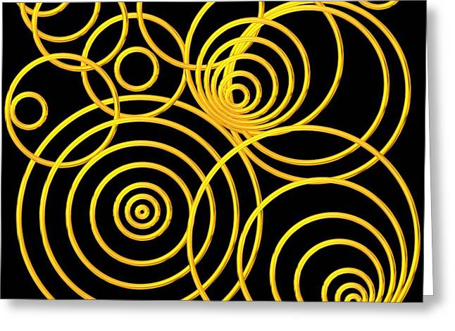 Golden Circles Optical Illusion Greeting Card by Rose Santuci-Sofranko