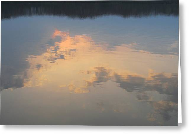 Golden Clouds On Water Greeting Card by Jaime Neo