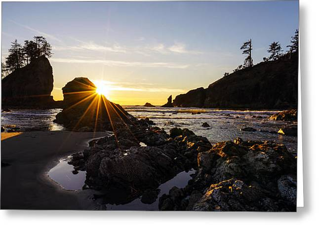 Golden Coastal Sunset Light Greeting Card by Mike Reid