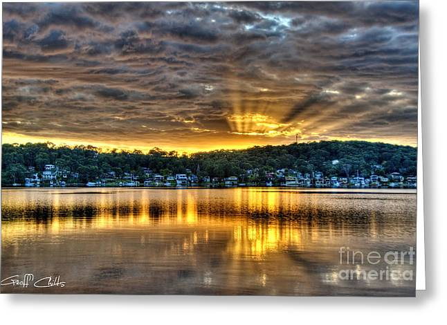 Golden Crepuscular Sunrise Water Reflections.     Greeting Card by Geoff Childs