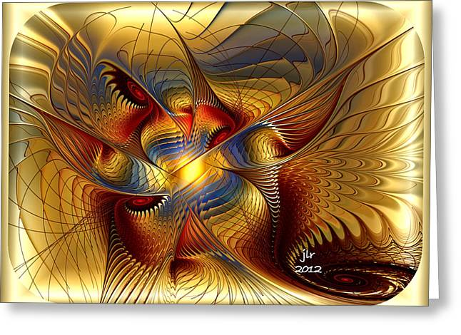 Golden Dancing Dragon Greeting Card by Janet Russell