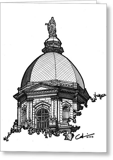 Greeting Card featuring the drawing Golden Dome by Calvin Durham