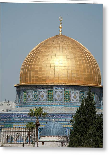 Golden Dome Of The Rock Mosque Atop Greeting Card