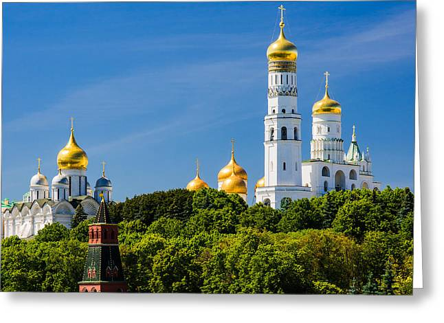 Golden Domes Of Moscow Kremlin - Featured 3 Greeting Card