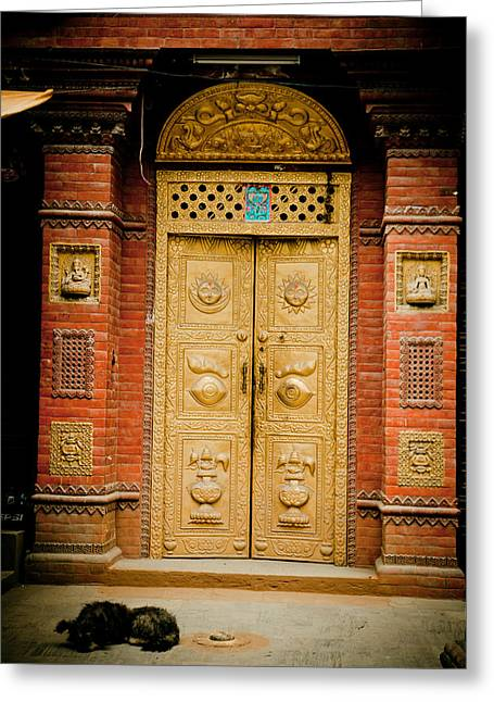 Golden Door In Kathamndu Greeting Card by Raimond Klavins