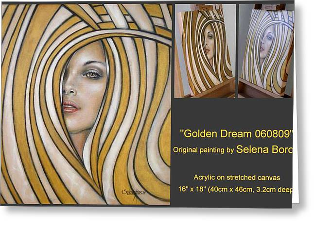 Greeting Card featuring the painting Golden Dream 060809 Comp by Selena Boron