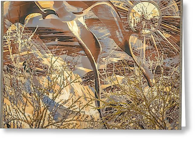 Greeting Card featuring the digital art Golden Dream by Eleni Mac Synodinos