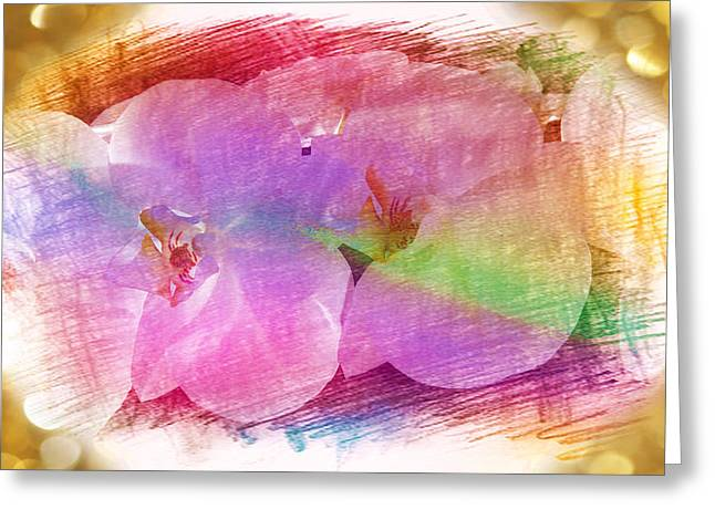 Golden Dreams Of Orchids Greeting Card