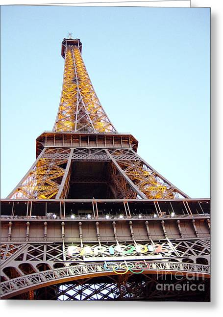 Greeting Card featuring the photograph Golden Eiffel by Deborah Smolinske