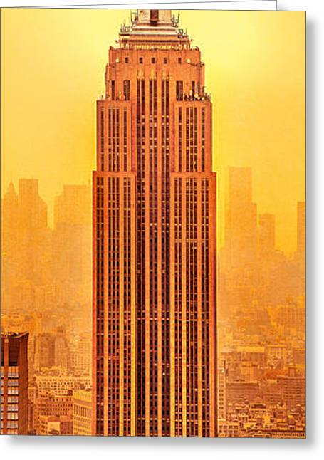 Golden Empire State Greeting Card by Az Jackson