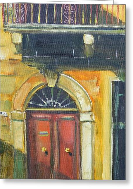 Golden Entry Greeting Card by Kathy  Karas