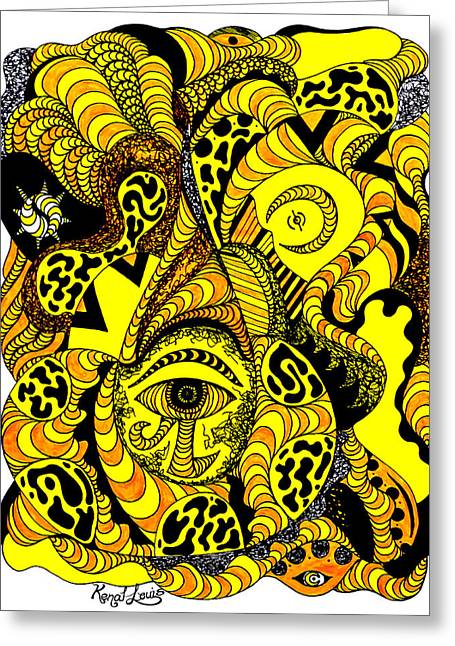 Golden Eye In Wave Of Thoughts Greeting Card by Kenal Louis