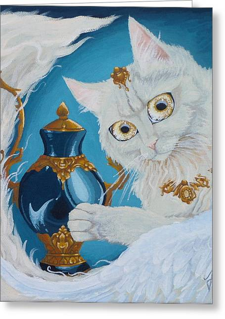 Golden Eyed Angel Bast Cat  Greeting Card by Jennifer  Anne Esposito