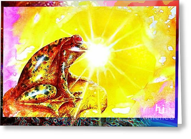 Greeting Card featuring the mixed media Golden Frog by Hartmut Jager