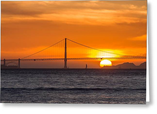 Golden Gate - Last Light Of Day Greeting Card