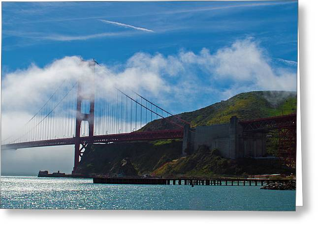 Golden Gate And Fog Greeting Card by Rima Biswas