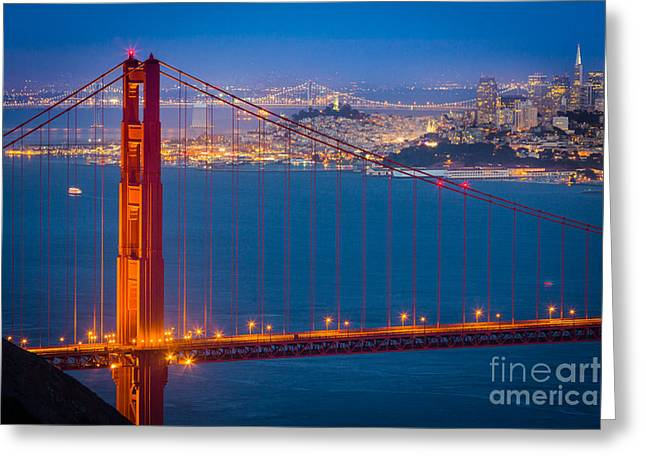 Golden Gate And San Francisco Greeting Card by Inge Johnsson
