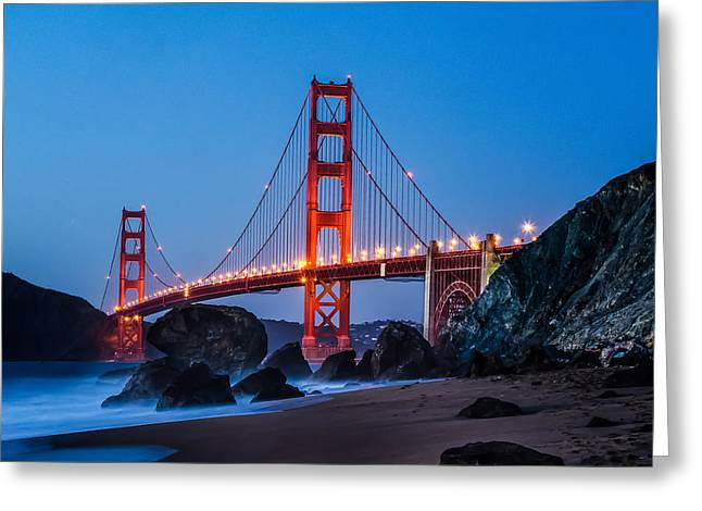 Golden Gate At Twilight Greeting Card by Linda Villers