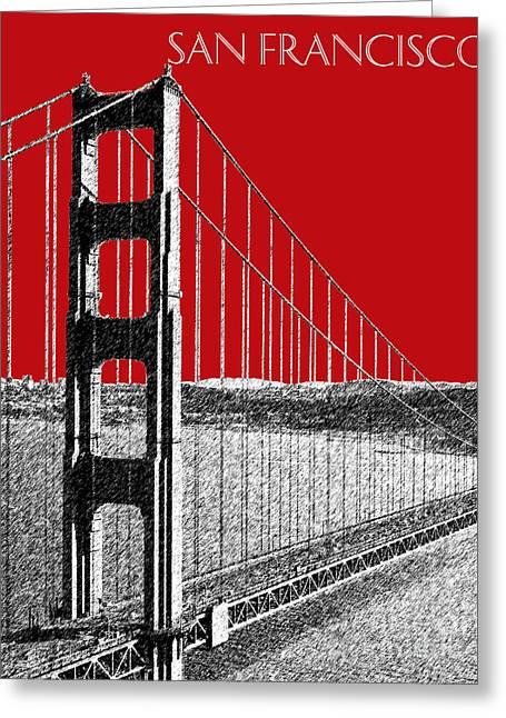 Golden Gate Bridge - Dk Red Greeting Card by DB Artist