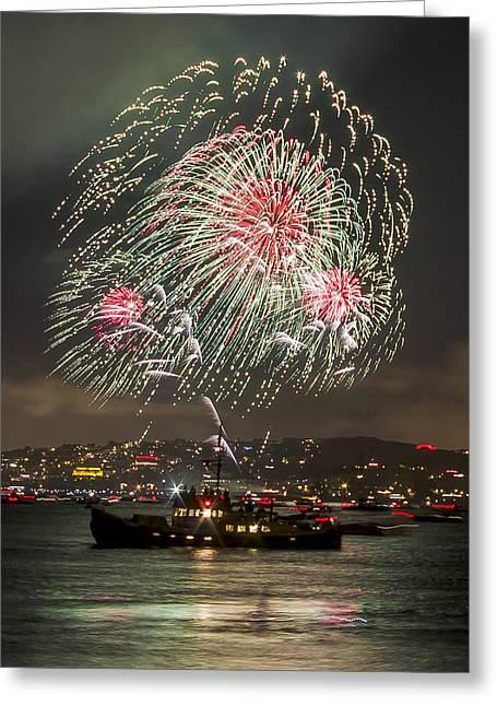 Golden Gate Bridge 75th Anniversary Fireworks 18 Greeting Card